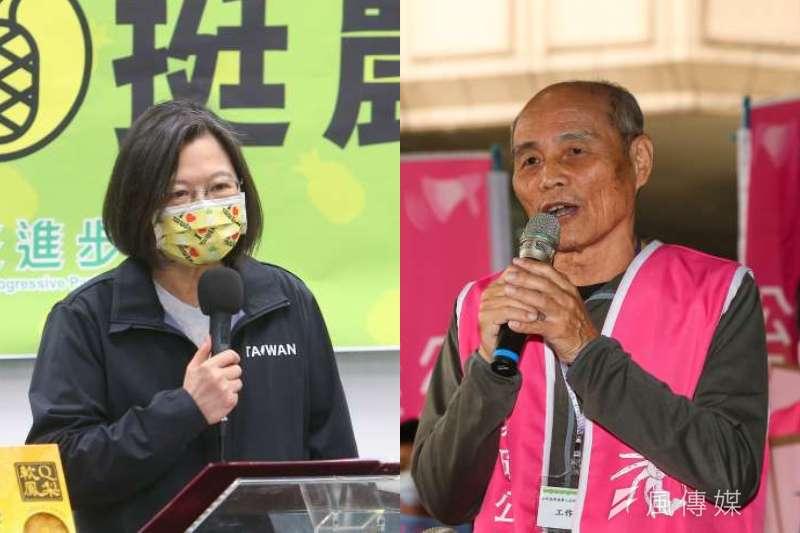 總統蔡英文(左)將於22日在總統府內接見環團,藻礁公投領銜人潘忠政(右)也預計出席。(資料照,顏麟宇攝/影像合成:風傳媒)