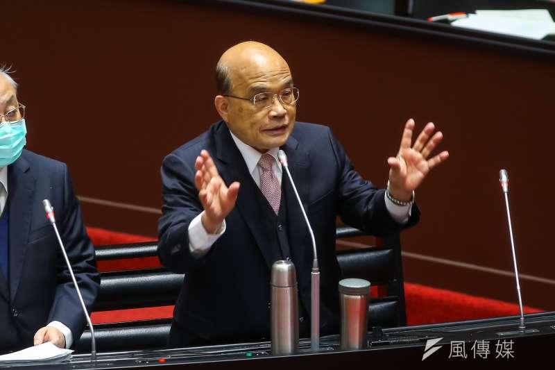 前立委郭正亮分析,行政院長蘇貞昌(見圖)內閣若要總辭,大概要撐到8月28日公投後。(資料照,顏麟宇攝)