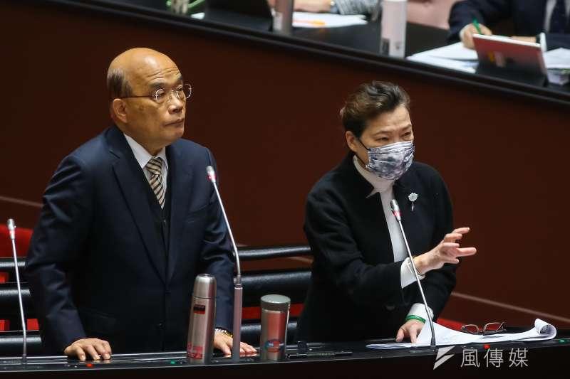 經濟部長王美花(右起)與行政院長蘇貞昌23日於立法院備詢。(顏麟宇攝)