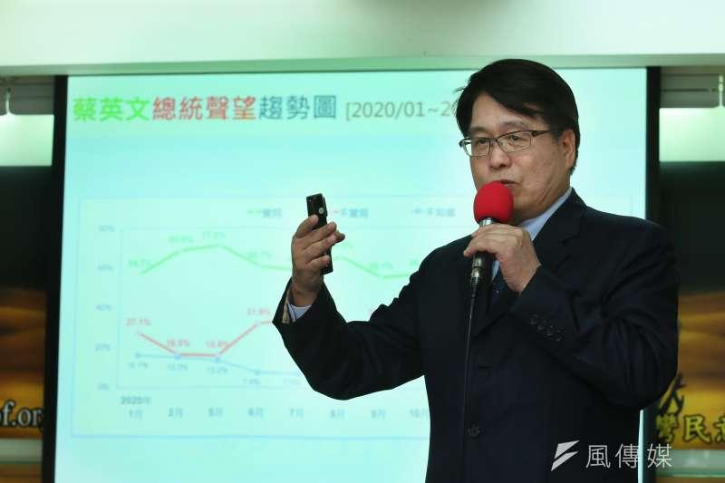 游盈隆主持的台灣民意基金會,每月都會發表新的民調數字。(資料照,柯承惠攝)