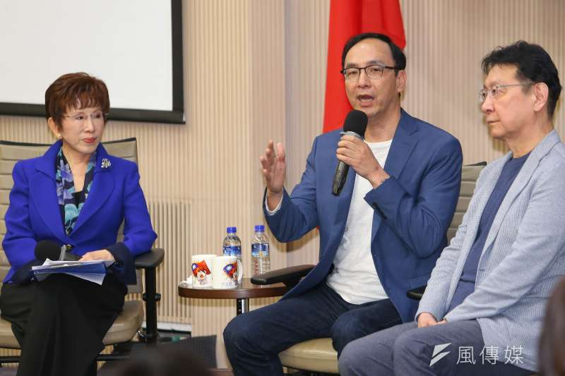 前國民黨主席朱立倫(中)出席青雁基金會召開「護憲保台論壇」,他強調台灣親美必須有共識(顏麟宇攝)