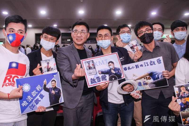 國民黨主席江啟臣出新書,透露當年沒有嚴正回應北京「一國兩制台灣方案」,造成二0二0敗選。(蔡親傑攝)