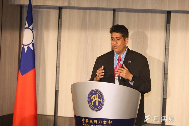 帛琉總統惠恕仁(Surangel Whipps Jr.)29日舉行訪台記者會。(資料照,柯承惠攝)