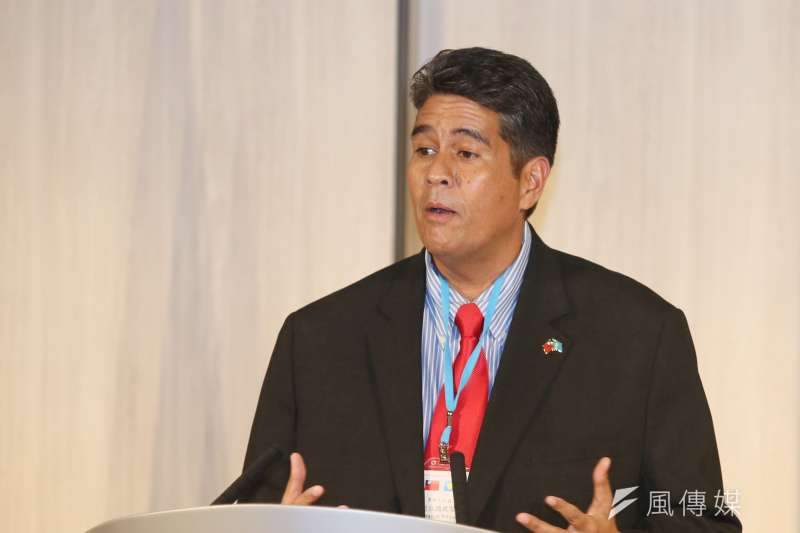 2021年3月29日,帛琉總統惠恕仁舉行訪台記者會。(柯承惠攝)