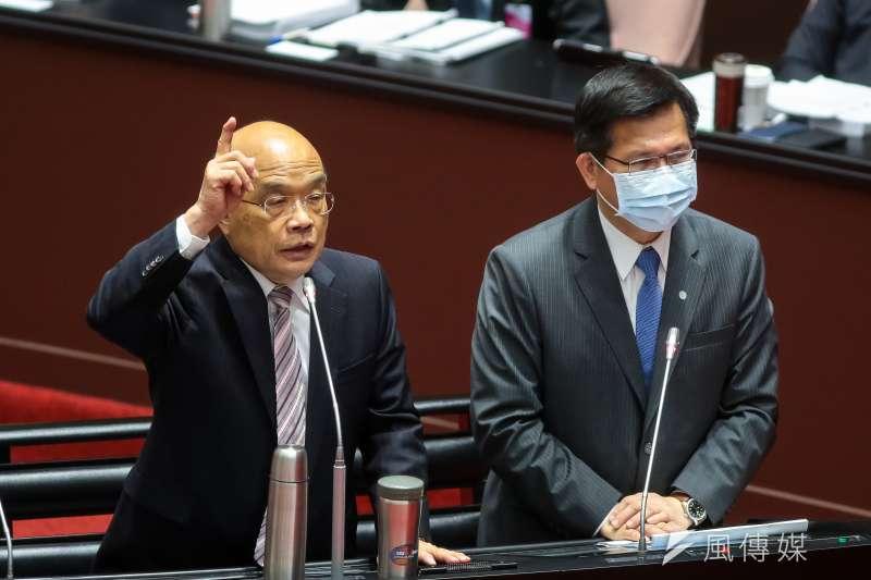 行政院長蘇貞昌(左)30日於立法院備詢,會中談及長榮貨運議題。(顏麟宇攝)
