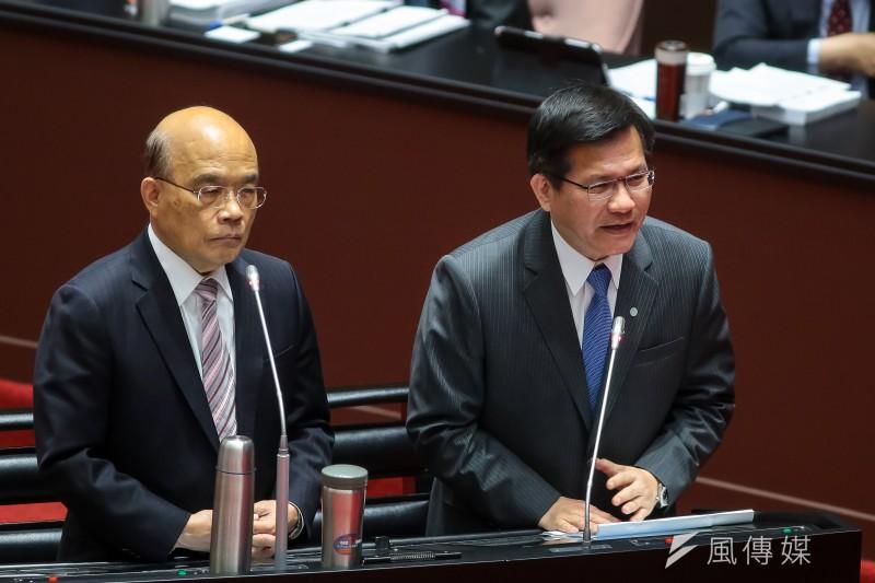 交通部長林佳龍(右)為太魯閣號事故請辭,行政院長蘇貞自己不肯負政治責任,也不批准林佳龍辭呈,至於懸缺三個月的台鐵局長,當然繼續懸缺。(顏麟宇攝)