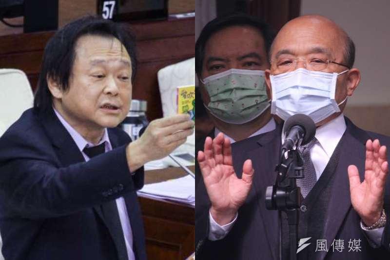 行政院長蘇貞昌強調,若非政府超前部署台灣早已限水,對此同黨台北市議員王世堅表示,別再說這些有的沒的,「該被罵就要被罵」。(資料照,蔡親傑攝/照片合成:風傳媒)