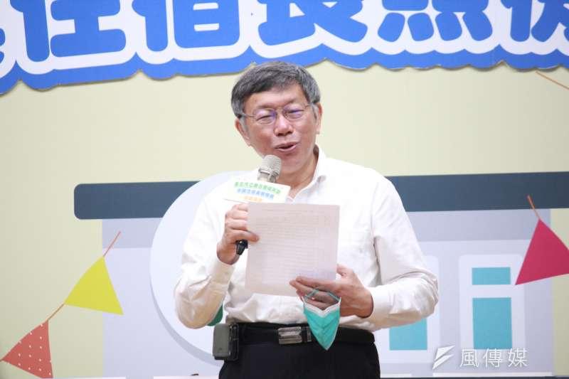 台北市長柯文哲(見圖)表示,從經驗來看,台灣人的血栓風險相對來說比白種人少非常多。(方炳超攝)