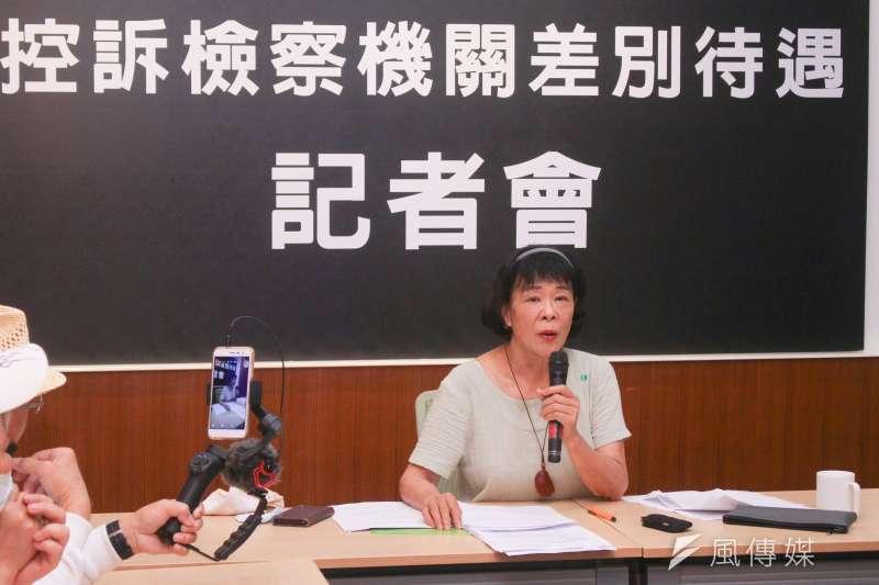20210401-台大法律系名譽教授賀德芬召開「控訴檢察機關差別待遇」記者會。(蔡親傑攝)