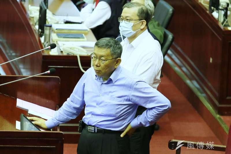 太魯閣號出軌釀重大傷亡,台北市長柯文哲(見圖)表示,很不喜歡這種捐款文化,好像沒有捐錢就沒有愛心。(柯承惠攝)
