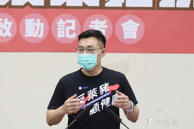 國民黨主席江啟臣18日出席「828反萊豬拚公 投 全台宣講啟動」記者會。 (柯承惠攝)