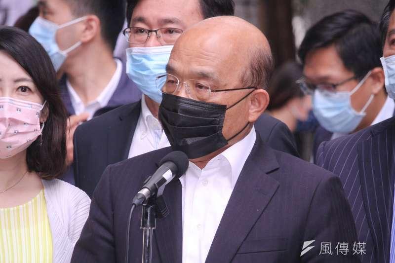 作者認為,台灣防疫神話是由全民共創之榮耀,1年多來的防疫努力,竟被行政院長蘇貞昌(見圖)一人之語,化為烏有。(資料照,蔡親傑攝)