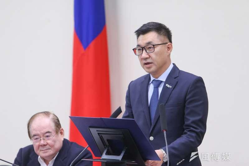 國民黨主席江啟臣28日於中常會發表談話,並談及核四議題。(顏麟宇攝)