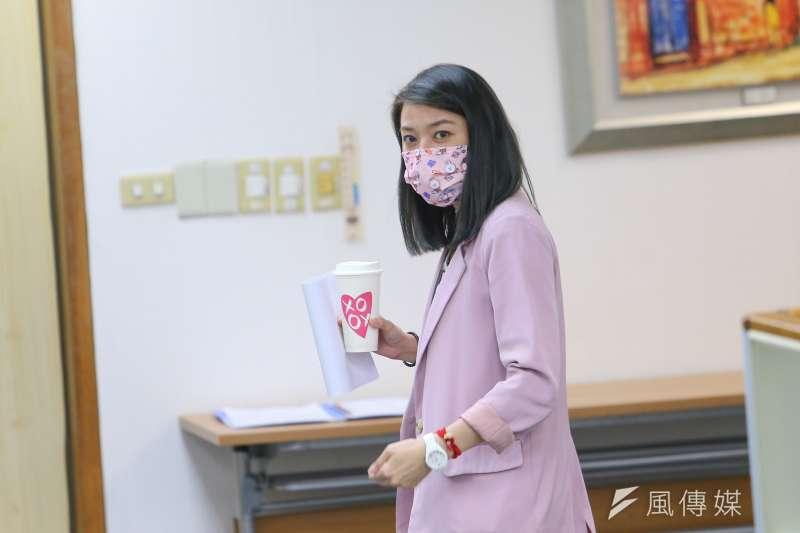 民進黨發言人顏若芳回應焦點訪談問題。(資料照片,顏麟宇攝)