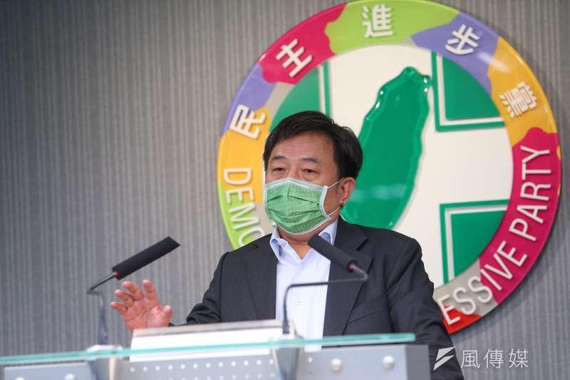 20210505-民進黨秘書長林錫耀5日出席民進黨中常會會後記者會。(顏麟宇攝)