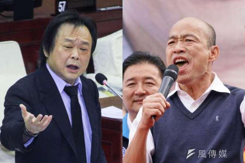 民進黨籍台北市議員王世堅表態支持韓國瑜參選,並直言他像盞「天燈」,對韓粉而言是一種心靈投射。(資料照,盧逸峰、蔡親傑攝/照片合成:風傳媒)