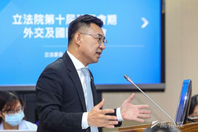 20210510-國民黨立委江啟臣10日於外交國防委員會質詢。(顏麟宇攝)
