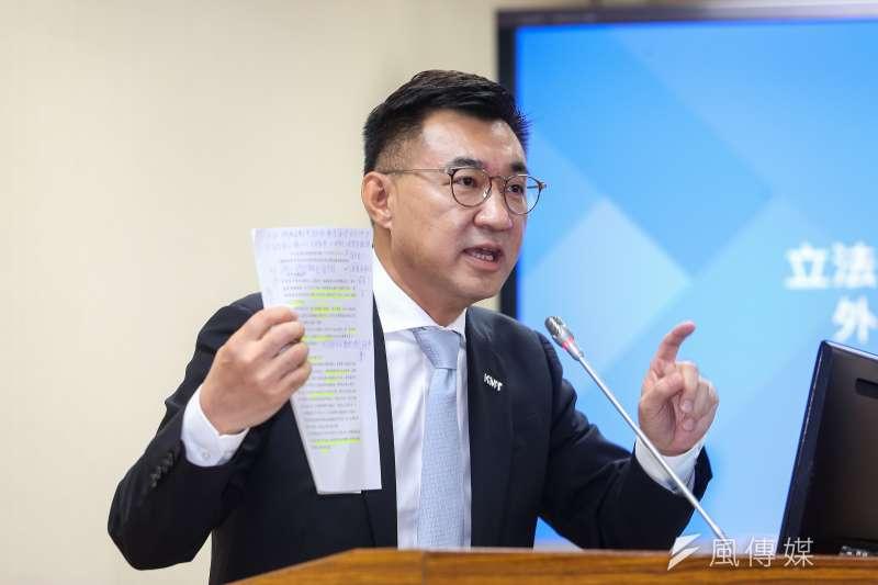 國民黨立委江啟臣10日於外交國防委員會質詢。(顏麟宇攝)