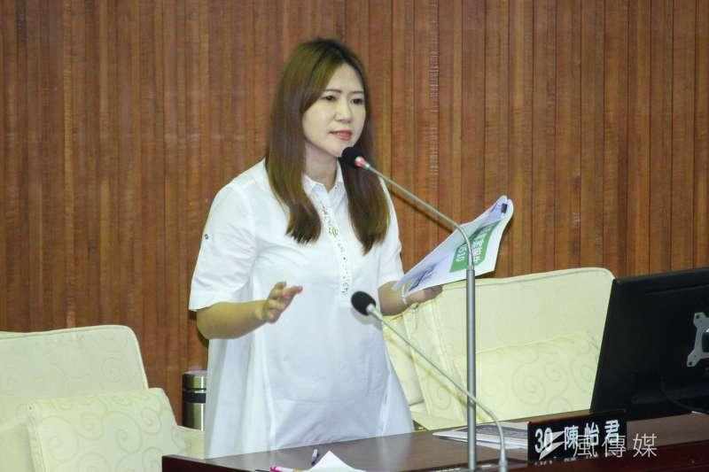 20210510-台北市議員陳怡君於市議會質詢。(蔡親傑攝)
