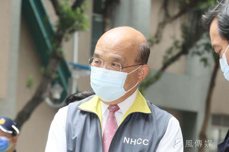 蘇貞昌感謝全國民眾協助防疫,也請民眾保持鎮定、配合防疫措施。(資料照,柯承惠攝)
