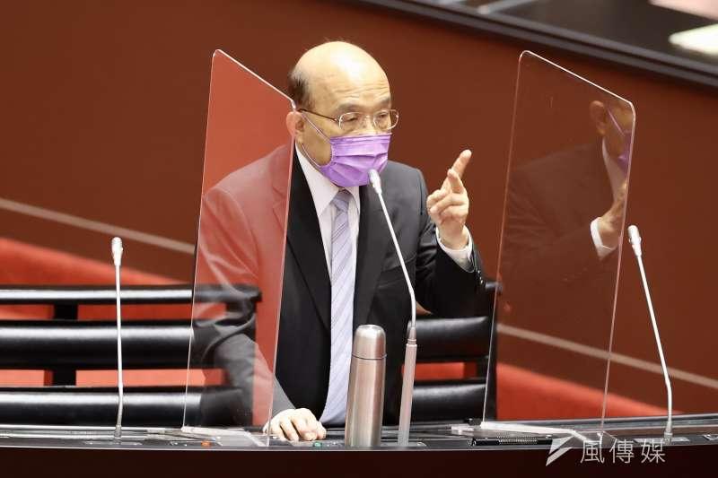 行政院長蘇貞昌17日在行政院會聽取衛生福利部報告「COVID-19疫情現況及應處作為」。(資料照,台北市攝影記者聯誼會提供)