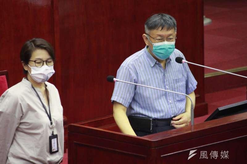 20210621-台北市長柯文哲到市議會備詢。(方炳超攝)