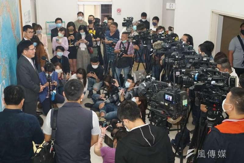 媒體記者採訪工作現場。(盧逸峰攝)