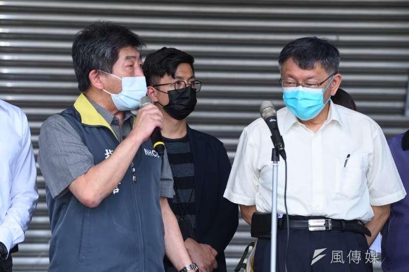 20210702-衛福部長陳時中(左)、台北市長柯文哲(右)2日針對環南市場疫情召開記者會說明。(顏麟宇攝)
