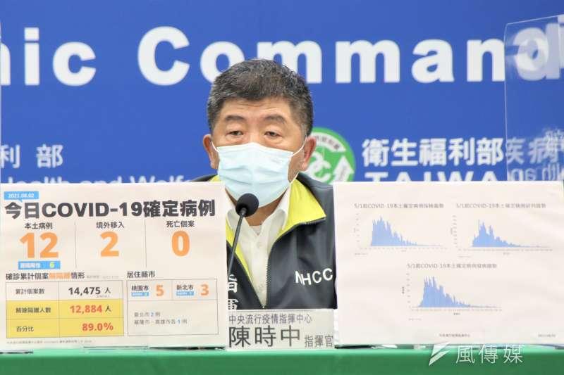 中央流行疫情指揮中心3日舉行疫情記者會,指揮官陳時中出席。(資料照,中央流行疫情指揮中心提供)