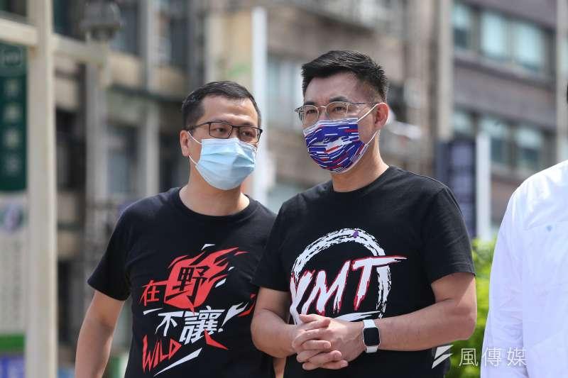 羅智強(左)和江啓臣(右)是國民黨內中生代的標竿人物。(顏麟宇攝)