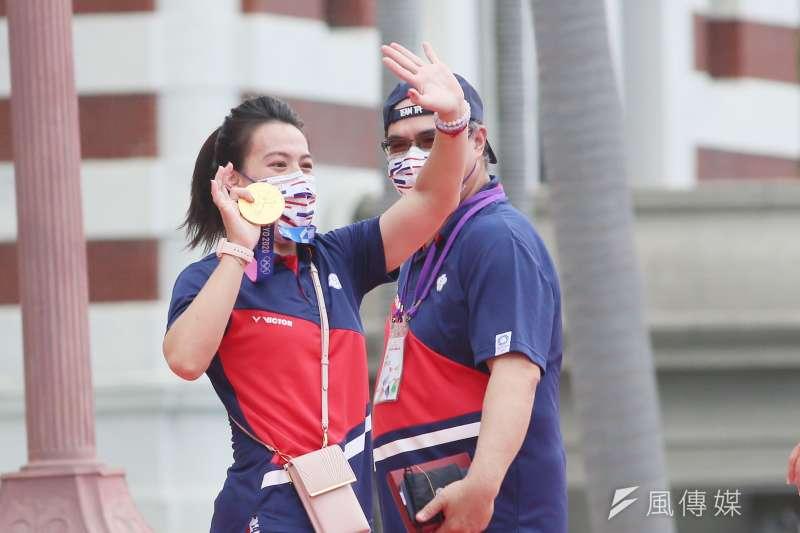 20210901-總統府1日舉行東京奧運中華代表團「Our Heroes!台灣英雄 凱旋派對」,圖為中華奧運選手郭婞淳進場。(柯承惠攝)