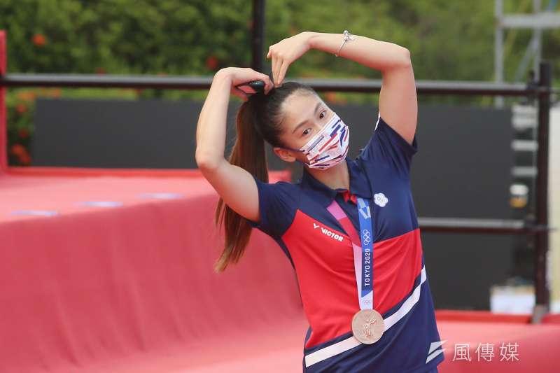 20210901-總統府1日舉行東京奧運中華代表團「Our Heroes!台灣英雄 凱旋派對」,圖為中華奧運選手文姿云進場。(柯承惠攝)