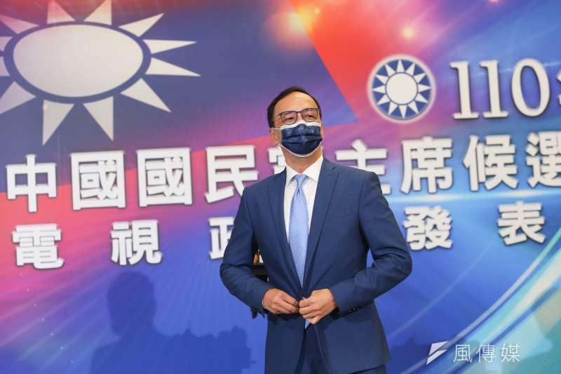 20210904-國民黨主席選舉候選人朱立倫4日出席電視政見發表會。(顏麟宇攝)
