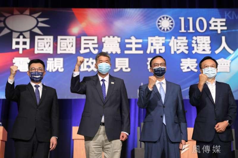 國民黨主席選舉候選人江啟臣(左起)、張亞中、朱立倫、卓伯源4日上午紛紛完成投票。(資料照,國民黨提供)