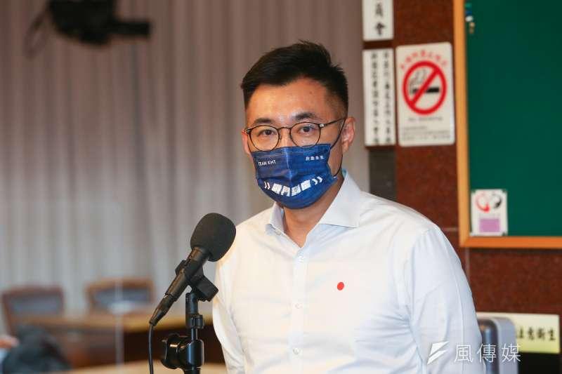 20210914-國民黨主席選舉候選人江啟臣接受媒體聯訪。(顏麟宇攝)