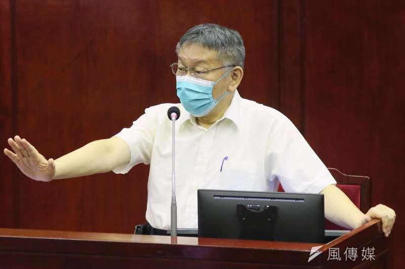 台北市長柯文哲自評北市防疫有85分。(柯承惠攝)