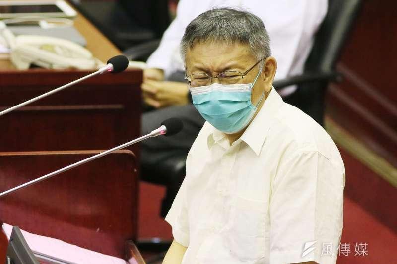 民眾黨籍立委高虹安唱「塔綠班之歌」,台北市長柯文哲(見圖)表示,戲謔偶一為之可以,但這不是一個很好的行為。(資料照,柯承惠攝)