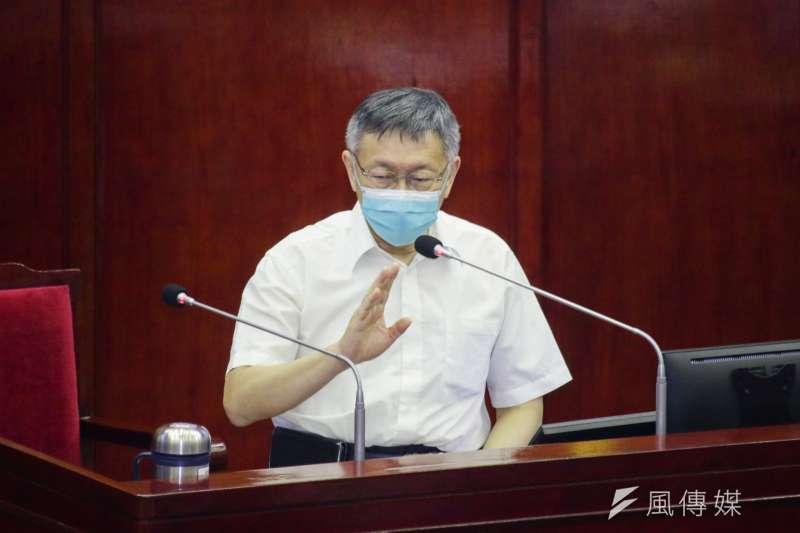 網紅四叉貓到禾馨診所違規私驗高端抗體,衛福部要求調查。台北市長柯文哲17日備詢時表示,如果是自費做檢查,也不是什麼傷天害理的事。(蔡親傑攝)
