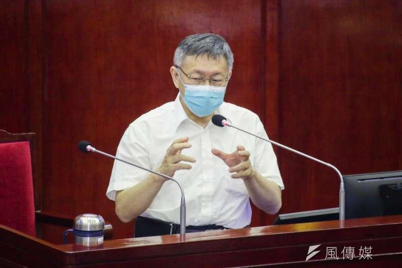 台北市長柯文哲17日赴台北市議會進行施政報告與備詢。(蔡親傑攝)