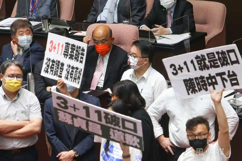 國民黨立院黨團17日就國籍航空機組員隔離「3+11」決策過程,要求行政院長蘇貞昌道歉,杯葛整日的議事進行。(顏麟宇攝)