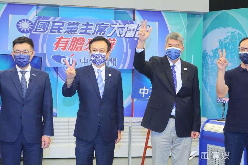 國民黨主席選舉候選人江啟臣(左起)、卓伯源、張亞中、朱立倫出席「國民黨主席大擂台-有膽來辯」辯論會。(中天新聞提供)
