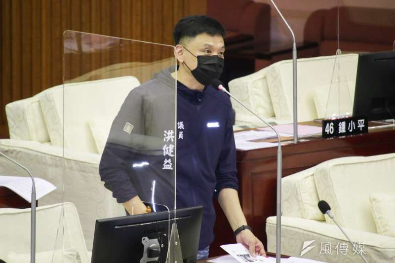 20210922-台北市議員洪健益於市議會質詢。(蔡親傑攝)