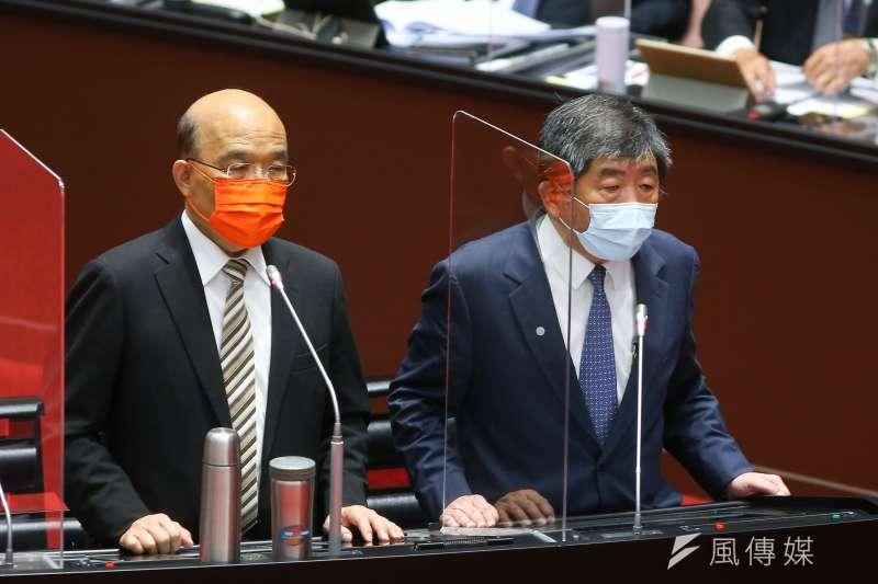 20210922-行政院長蘇貞昌(左)、衛福部長陳時中(右)22日就新冠疫苗接種、整備、受害救濟等相關事宜至立法院備詢。(顏麟宇攝)