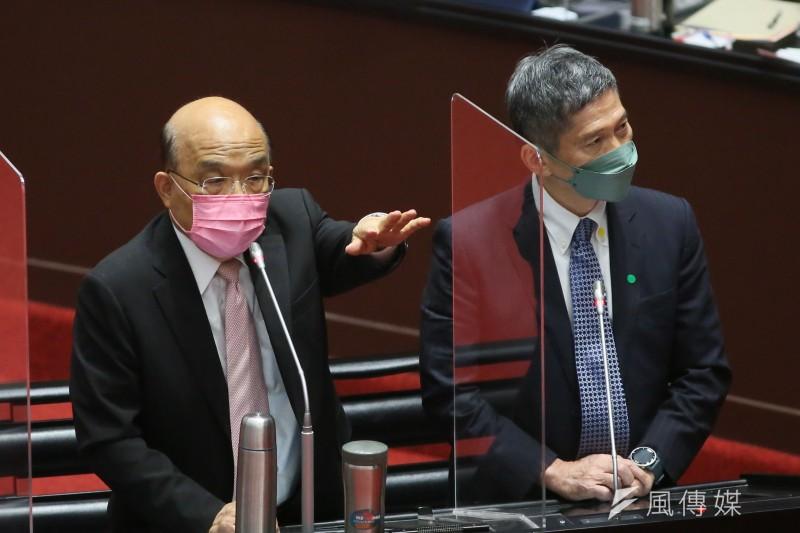 20210923-行政院長蘇貞昌(左)與文化部長李永得(右)23日至立法院就新冠肺炎防治及紓困預算進行報告並備詢。(柯承惠攝)