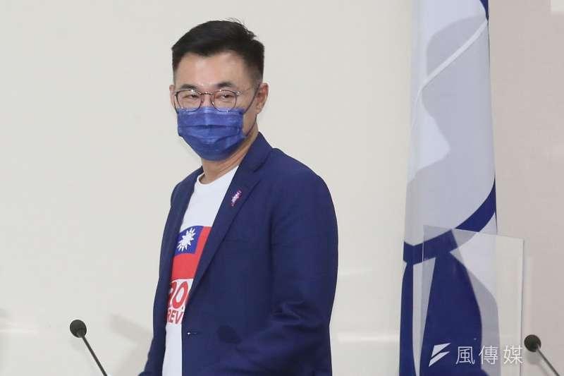 國民黨現任主席江啟臣(見圖)競選連任失利,國民黨台北市議員羅智強表示,他仍是國民黨明日之星。(柯承惠攝)