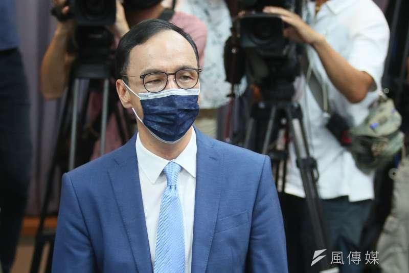 20210925-國民黨主席當選人朱立倫25日在中央黨部發表談話。(柯承惠攝)