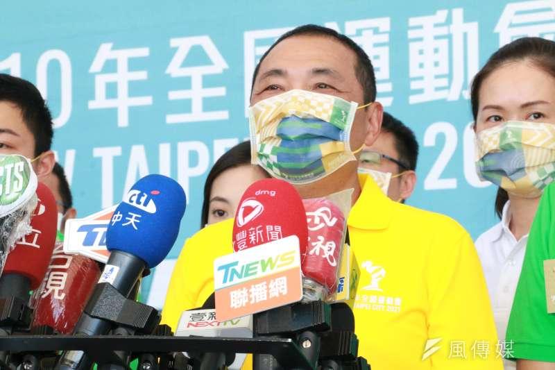 針對國民黨主席選舉,市長侯友宜強調,市長最重要的工作就是在防疫期間把市政及防疫工作做好。(圖/李梅瑛)