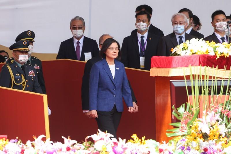 民國110年國慶大會,總統蔡英文出席致詞。(顏麟宇攝)