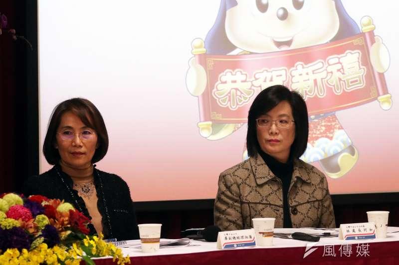 20170209-中油公司下午舉行新春記者茶會,中油公司副總經理畢淑蒨(左)、企研處長林珂如(右)出席。(蘇仲泓攝)