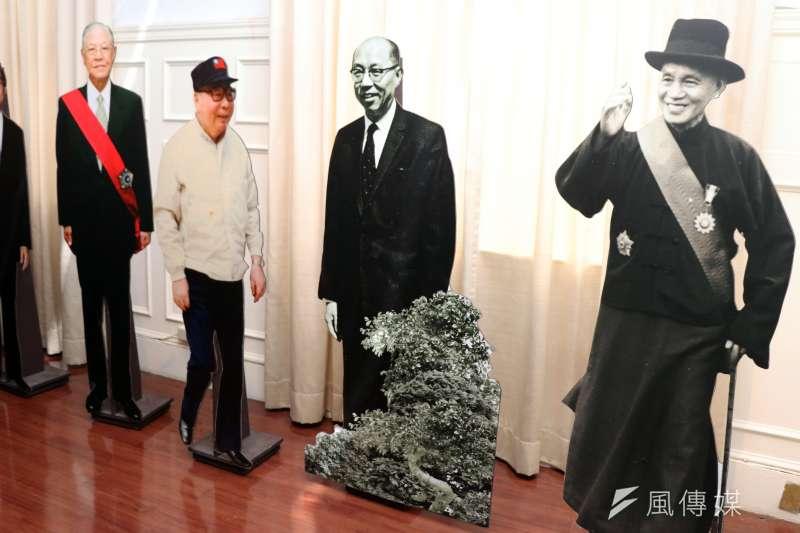 國史館清查開放五萬件《蔣中正總統檔案》上網。圖為國史館展示蔣中正及歷任元首立牌。(蘇仲泓攝)